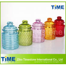 Colored 250ml Glass Jar with Glass Lid for Cookie Candy